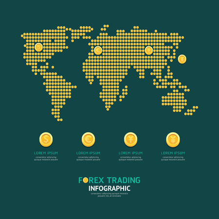 Infographic business currency money coins forex world map shape template design. world economic concept vector illustration  graphic or web design layout.