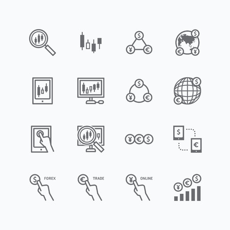 online trading: forex vector flat icons set of business finance online trading outline concept.