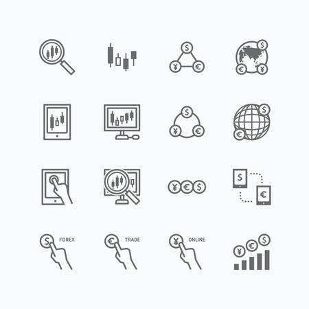 stock trader: iconos planos divisas vectorial Conjunto de financiaci�n de las empresas de comercio en l�nea concepto contorno.
