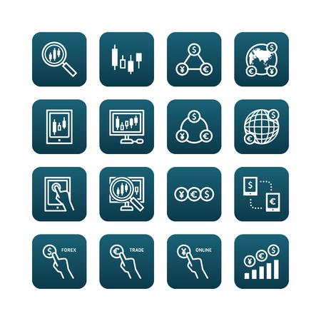 stock trader: iconos planos de divisas vectorial Conjunto de financiaci�n de las empresas de comercio en l�nea bot�n de la web concepto. Vectores