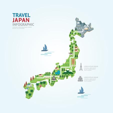 인포 그래픽 여행 및 랜드 마크 일본지도 모양 템플릿 디자인. 국가 네비게이터 개념 벡터 일러스트  그래픽 또는 웹 디자인 레이아웃.