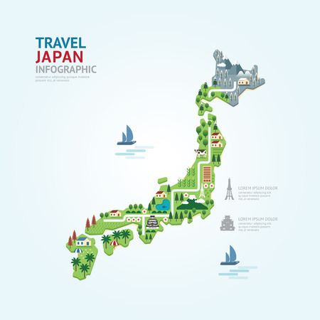 landmarks: Infographic travel and landmark japan map shape template design. country navigator concept vector illustration  graphic or web design layout.