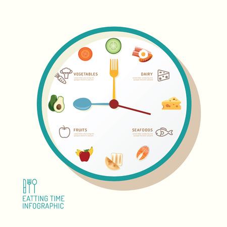 Infographic horloge en vlakke pictogrammen idee. Vector illustratie. eatting tijd concept. kan worden gebruikt voor de lay-out, banner en webdesign.