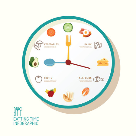 meal time: Infographic watch and flat icons idea. Vector illustration. eatting time concept. can be used for layout, banner and web design.