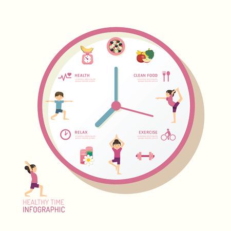 건강: 인포 그래픽 시계와 평면 아이콘 아이디어. 벡터 일러스트 레이 션. 건강 시간 개념. 레이아웃, 배너 및 웹 디자인을 사용할 수있다.