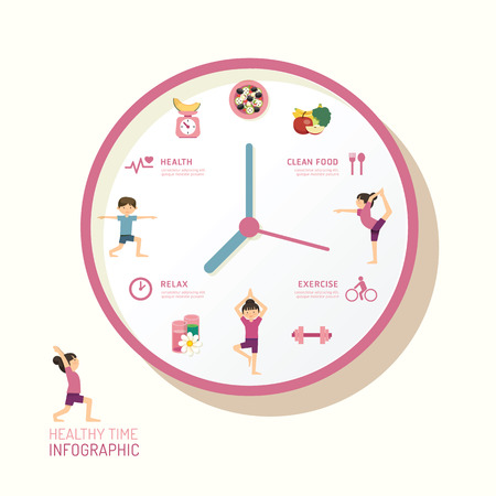 Infographic watch and flat icons idea. Vector illustration. health time concept. can be used for layout, banner and web design.