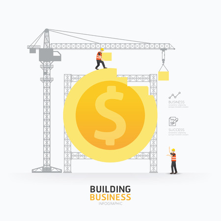 Infographic zakelijke dollar template munt vorm design.building succes concept vector illustratie  grafische of web design lay-out. Stock Illustratie