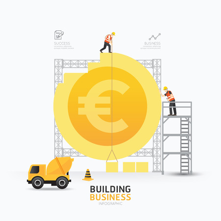 Infographic business euro coin shape template design.building to success concept vector illustration / graphic or web design layout.