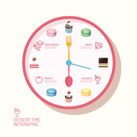 snack time: Infographic watch and bakery flat icons idea. Vector illustration. eatting time concept. can be used for layout, banner and web design.