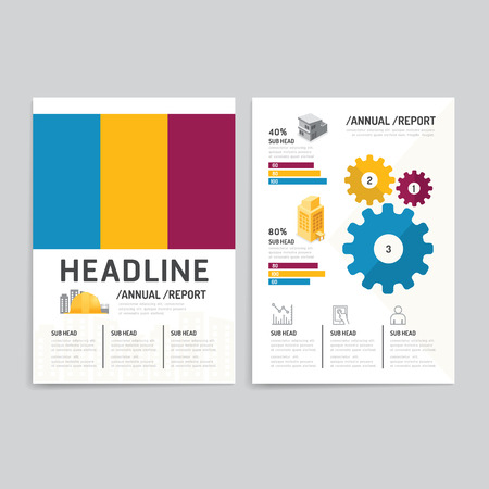 print media: Vector brochure, flyer, magazine cover booklet poster design template.layout building business annual report set of corporate identity mock-up print media A4 size.