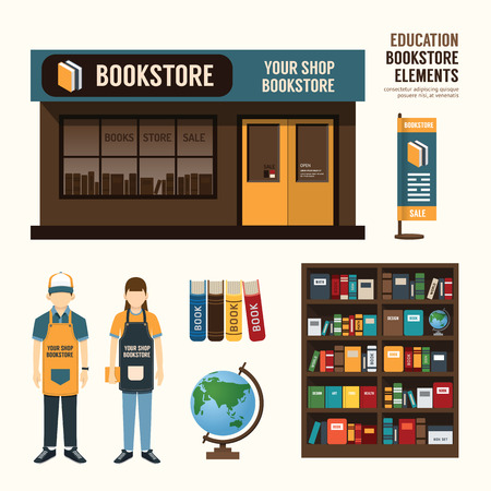 store front: Vector bookstore set design shop store package tshirt cap uniform and front display design layout set of corporate identity mock up template. Illustration