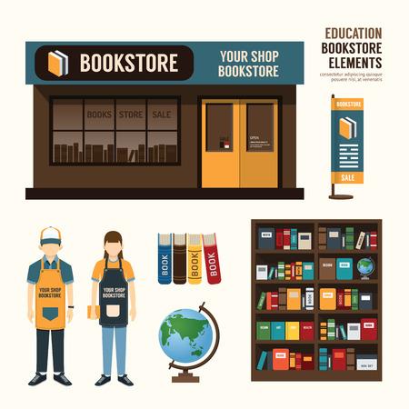 buchhandlung: Vector Buchhandlung B�hnen Shop Shop-Paket T-Shirt M�tze Uniform und Front-Display-Design-Layout Satz von Corporate-Identity-Mock-up-Vorlage. Illustration