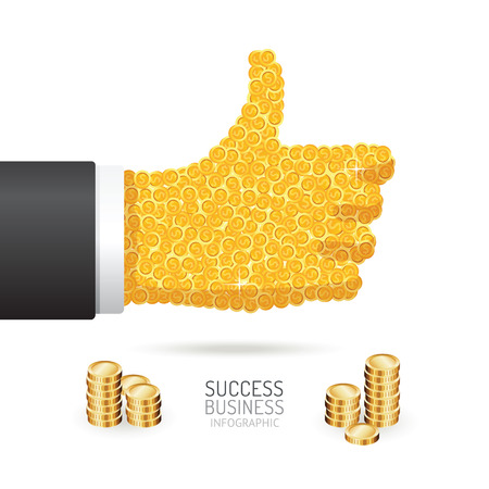 goed teken: Infographic business coins good sign hand shape template design. success concept vector illustration  graphic or web design layout. Stock Illustratie