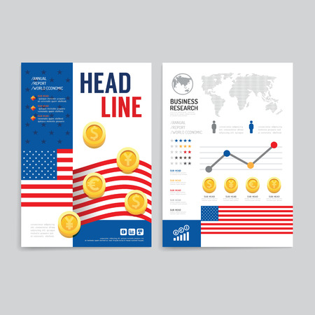 economic: Vector brochure flyer magazine cover booklet poster design template.layout world business economic annual report set of corporate identity mockup print media A4 size. Illustration