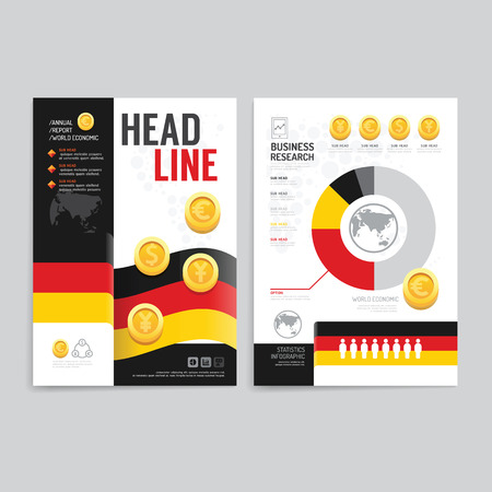 print media: Vector brochure flyer magazine cover booklet poster design template.layout world business economic annual report set of corporate identity mockup print media A4 size. Illustration