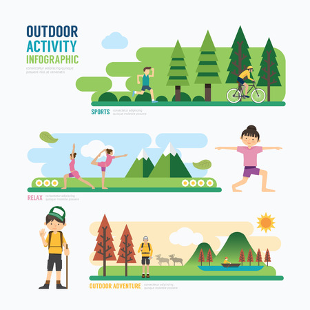 ao ar livre: parques e activityTemplate outdoor projeto Infográfico. Concept Ilustração