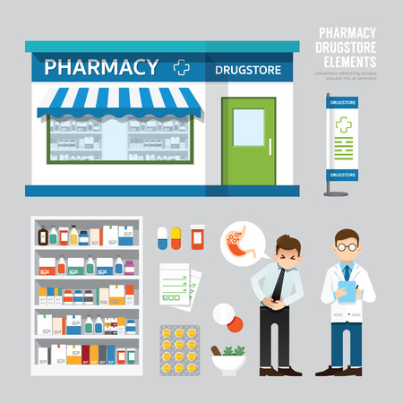 Vector pharmacy drugstore set design shop store package tshirt cap uniform and front display design layout set of corporate identity mock up template.