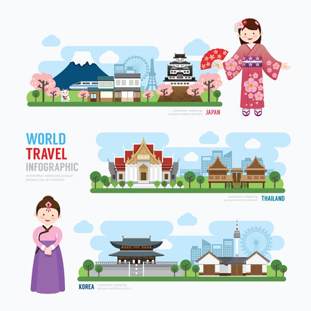 famous: 旅遊和韓國建築地標亞洲日本泰國模板設計信息圖表。概念矢量插圖