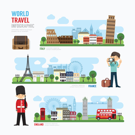 旅行: 旅行和戶外歐洲地標模板設計信息圖表。概念矢量插圖