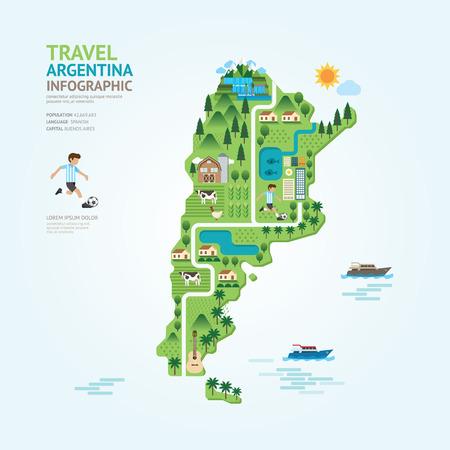 인포 그래픽 여행 및 랜드 마크 아르헨티나지도 모양 템플릿 디자인. 국가 네비게이터 개념 벡터 일러스트 그래픽 또는 웹 디자인 레이아웃.