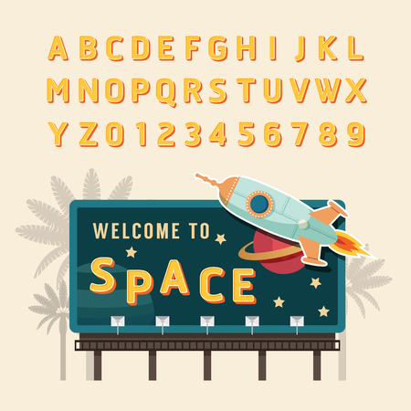 billboard: Vector vintage space rocket billboard sign vintage signboard vintage banner with fonts set . Illustration