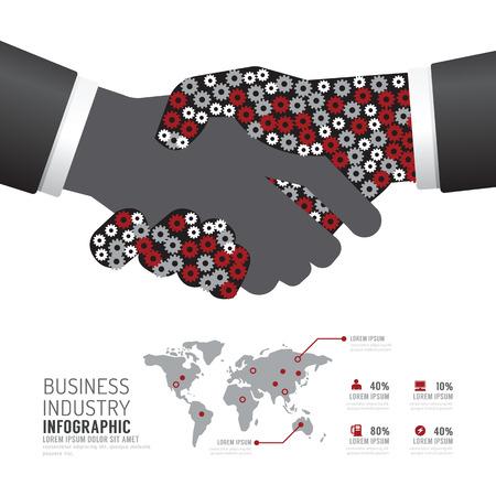mapas conceptuales: Industria del negocio de diseño de plantilla de forma de apretón de manos de engranajes Infografía. el concepto de éxito ilustración vectorial diseño de diseño gráfico o web.