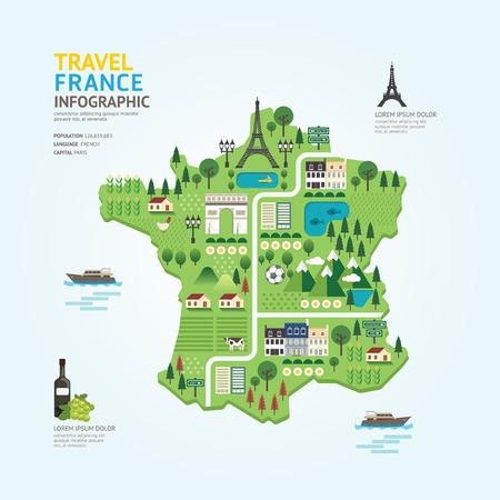 turista: Infografica viaggio e francia mappa punto di riferimento di progettazione modello di forma. paese concetto di navigatore illustrazione vettoriale layout di progettazione grafica o web.