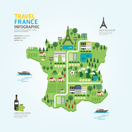 landmarks: Infographic travel and landmark france map shape template design. country navigator concept vector illustration  graphic or web design layout.
