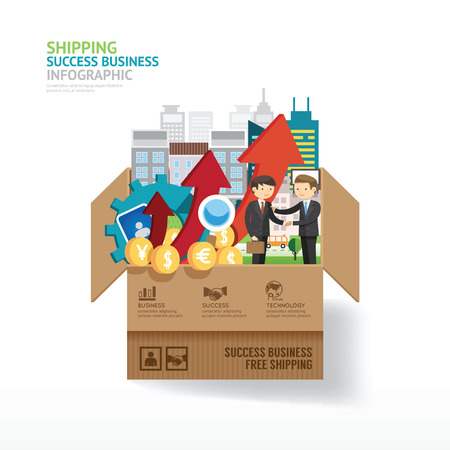Infographic business design. open box with finance elements. shipping winner and success concept. vector illustration. Stock Illustratie