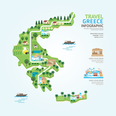 greece: Infographic travel and landmark greece map shape template design. country navigator concept vector illustration  graphic or web design layout.