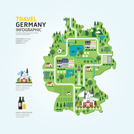 Infographic travel and landmark germany map shape template design. country navigator concept vector illustration  graphic or web design layout. Ilustração