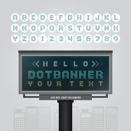Vector digital led billboard signdot signboard modern banner with fonts set .  イラスト・ベクター素材