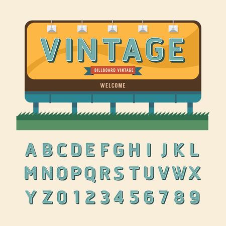 advertising billboard: Vector vintage billboard sign vintage signboard vintage banner with fonts set . Illustration