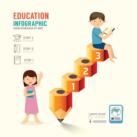 Infographic potlood met kind idee. Vector illustratie. onderwijs stap naar succes concept. kan worden gebruikt voor de lay-out, banner en webdesign. Stock Illustratie