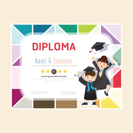 an achievement: Certificate kids diploma, kindergarten template layout background frame design vector. education preschool concept flat art style