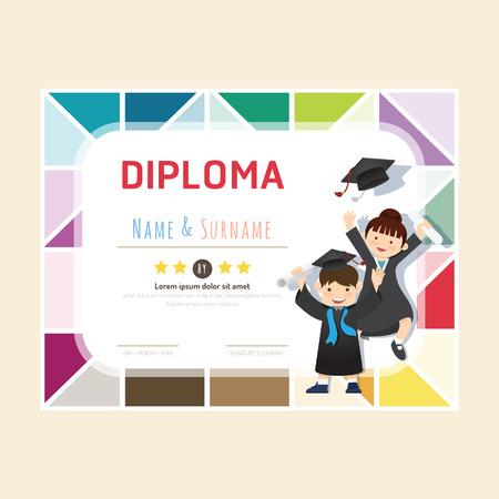 diploma: Diploma ni�os de certificados, guarder�a dise�o de plantilla de marco de fondo de dise�o vectorial. concepto de educaci�n preescolar estilo de arte plana