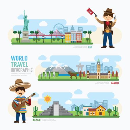 여행 및 야외 랜드 마크 멕시코, 캐나다, 미국 템플릿 디자인 인포 그래픽. 개념 벡터 일러스트 레이 션 일러스트