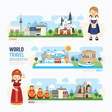 Travel and outdoor Europe Landmark Template Design Infographic. Concept Vector Illustration Çizim