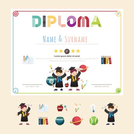 graduation gown: Certificate kids diploma, kindergarten template layout background frame design vector. education preschool concept flat art style