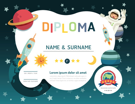 cartoon rocket: Certificate kids diploma, kindergarten template layout space background frame design vector. education preschool concept flat art style Illustration