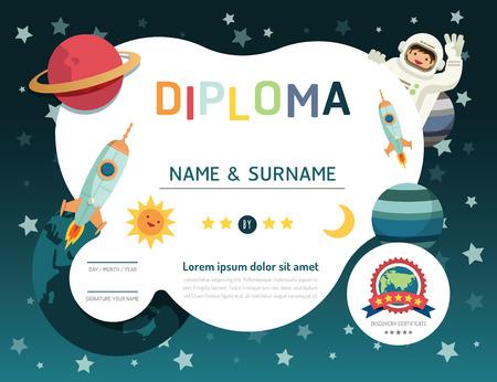 eğitim: Sertifika çocuklar diploma, anaokulu şablon düzeni uzay arka plan çerçeve tasarımı vektör. Eğitim okulöncesi kavramı düz sanat tarzı