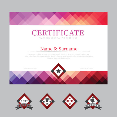 achieve: Certificate template layout background frame design vector. modern flat art style