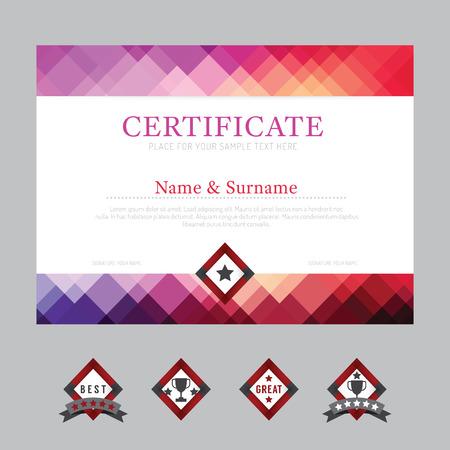 graduado: Plantilla de certificado de antecedentes dise�o de dise�o del vector del marco. moderno estilo art plana Vectores