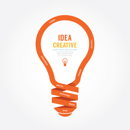 light bulb idea: vector light bulb ribbon paper design creative line style. Illustration