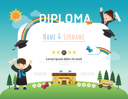 cartoon human: Certificate kids diploma, kindergarten template layout background frame design vector. education preschool concept flat art style