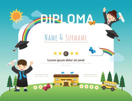 graduacion caricatura: Diploma niños de certificados, guardería diseño de plantilla de marco de fondo de diseño vectorial. concepto de educación preescolar estilo de arte plana