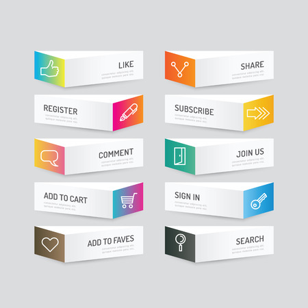 like button: Modern banner button with social icon design options. Vector illustration. can be used for infographic workflow layout, banner, abstract, colour, graphic or website layout vector