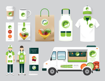 Vector biologisch restaurant design set straat voedsel vrachtwagen gezondheid winkel, flyer, menu, verpakking, t-shirt, cap, uniform en display design lay-out set van corporate identity mock up template. Stock Illustratie