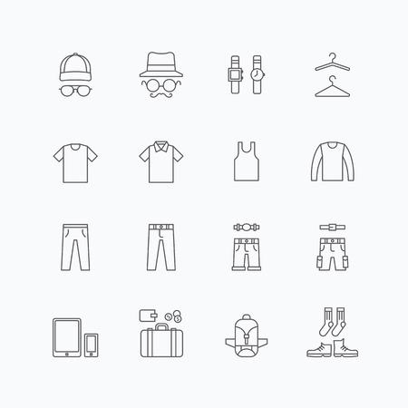 vector linear web icons set - man clothing store collection of flat line design elements. Ilustração Vetorial