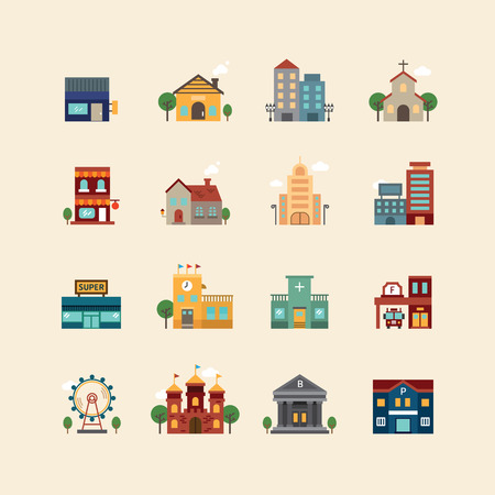 edilizia: icone piane vettore web set - edifici insieme di elementi di design della città. Vettoriali